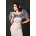 grey  feather bridal stole, ivory marabou feather wrap vintage